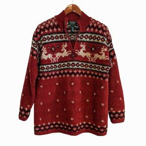 Vtg. Ralph Lauren Hand Knit Wool Sweater S